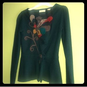 Anthropologie Emerald Wool Sweater Blazer